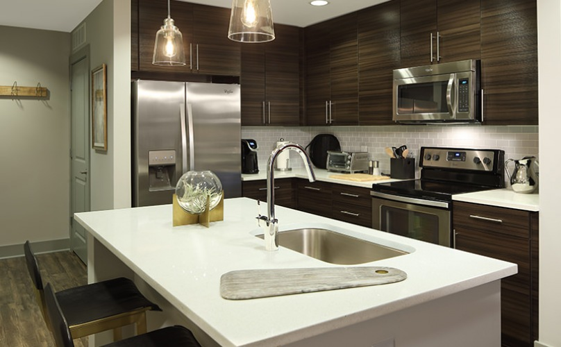 Open-concept dining and kitchen areas